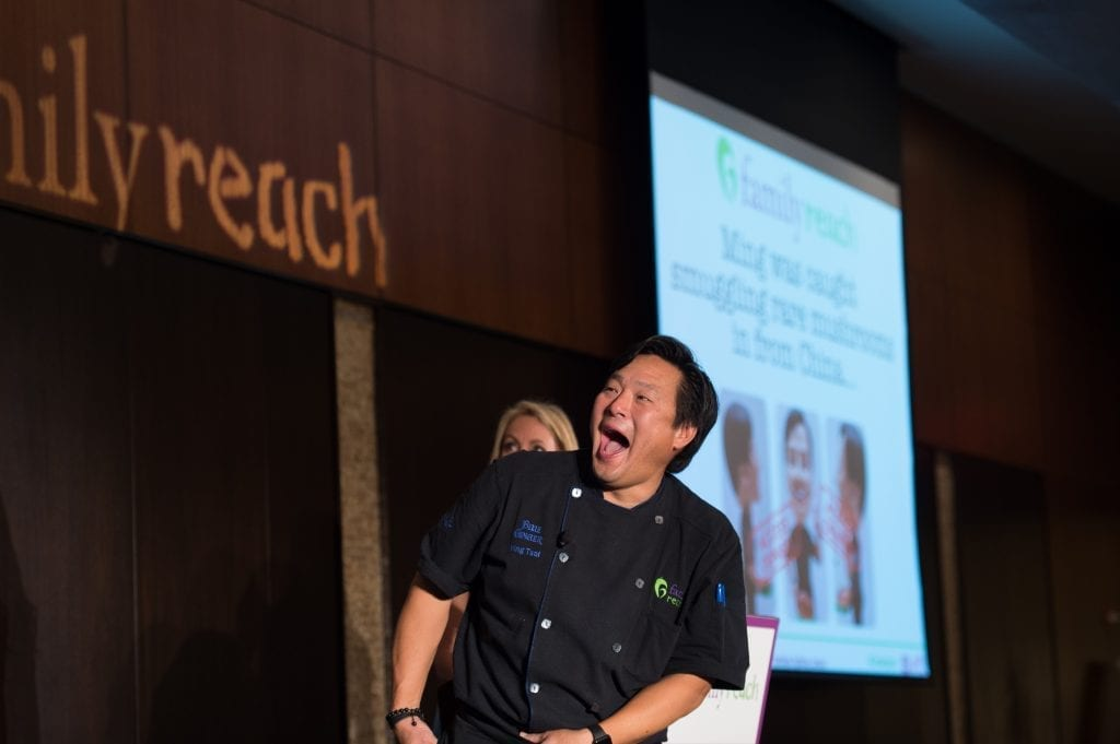 "Chef Ming Tsai during the Family Reach fundraising event, ""Cooking Live! Boston"" in Boston, Tuesday, May 3, 2016. For more than two decades Family Reach has been providing financial support to families with a child sick with cancer. (Gretchen Ertl/AP Images for Family Reach Foundation)"