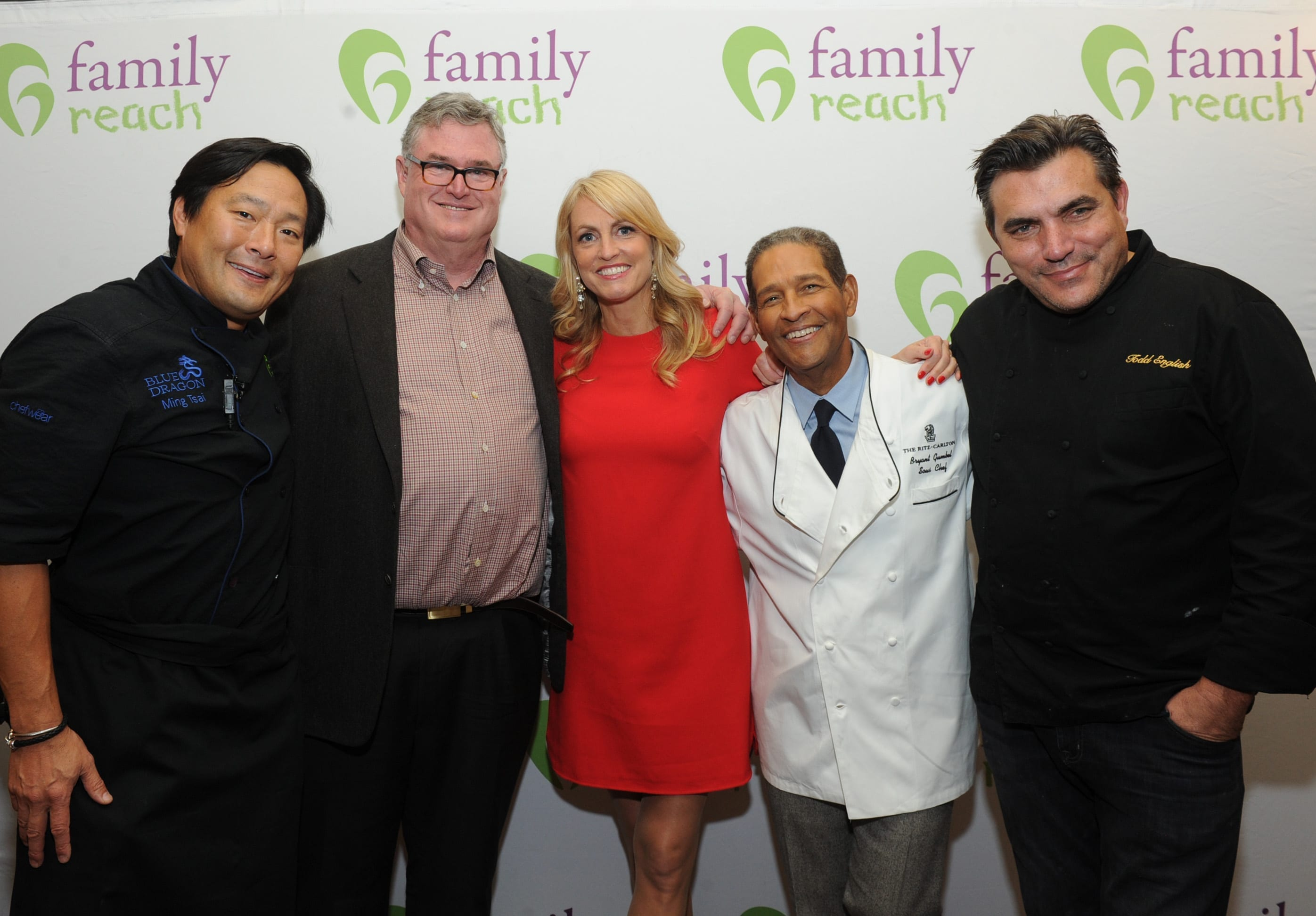 1. Ming Tsai (chef, restaurateur and our National Advisory Board President), Jesse Rogers (XXXX), Carla Tardif (Family Reach CEO), Bryant Gumbel (Emmy-award winning broadcaster) and Todd English (chef and restaurateur) come together through food to experience a one of a kind event.