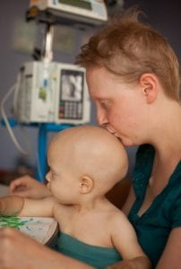 Kezia and Saoirse back in 2011 when they were both undergoing chemotherapy