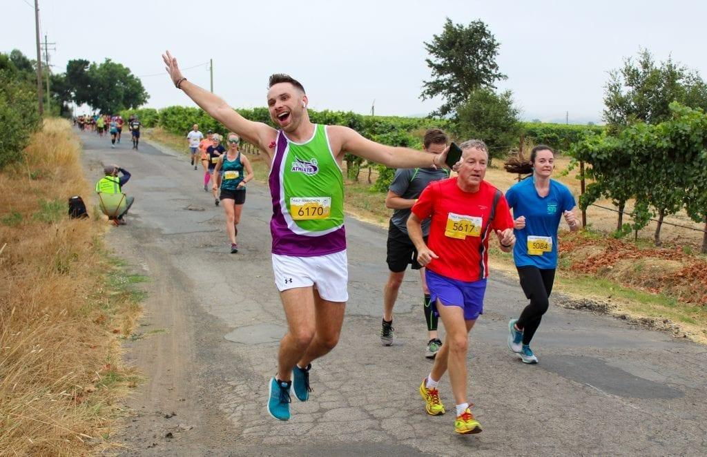 Lee jumping for joy at the halfway point!