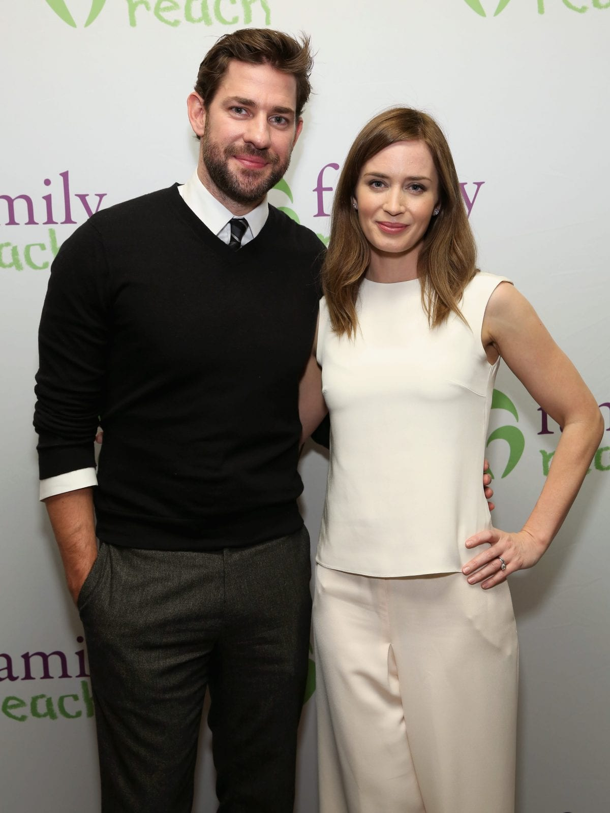 NEW YORK, NY - NOVEMBER 02: Actors John Krasinski (L) and Emily Blunt attend Family Reach's Cooking Live From New York: Emily Blunt & John Krasinski join celebrity chefs Ming Tsai and Morimoto, to help families fighting pediatric cancer at The Ritz-Carlton New York, Battery Park on November 2, 2015 in New York City. (Photo by Cindy Ord/Getty Images for Family Reach Foundation) *** Local Caption *** John Krasinski; Emily Blunt