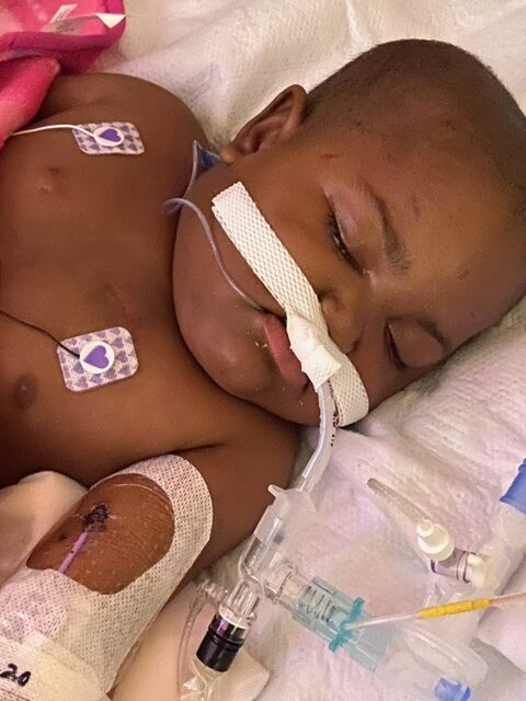 Nahla at the hospital during cancer treatment