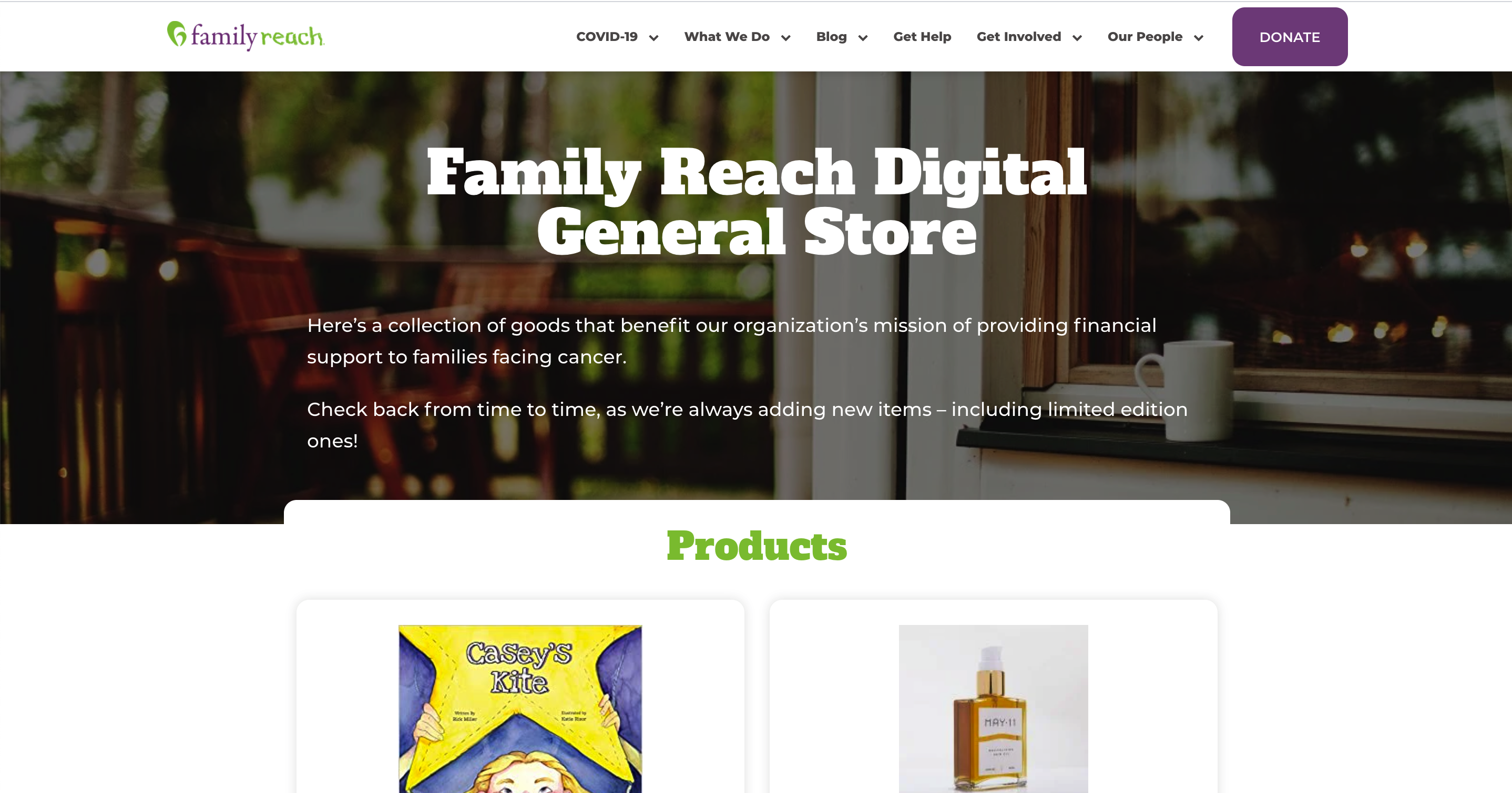 Family Reach's online General Store web page