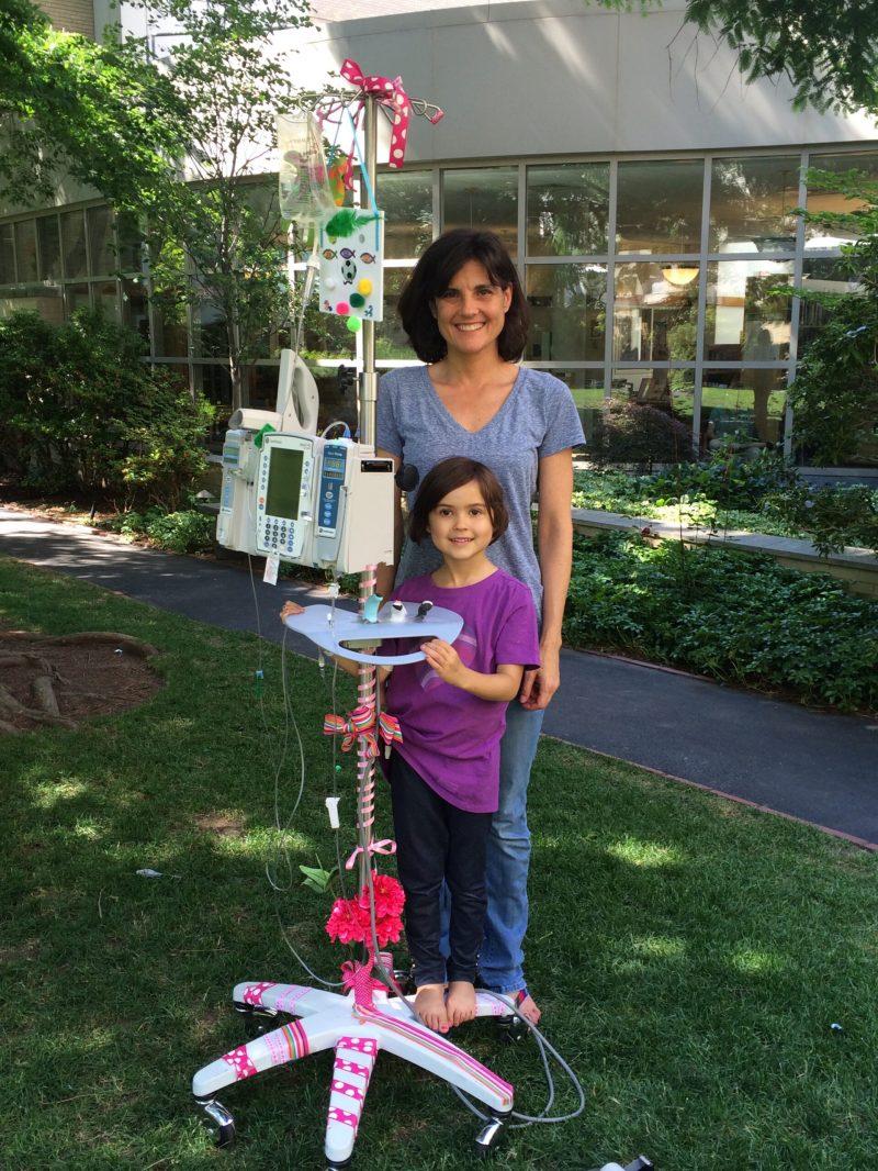 Larissa with her daughter Ella during treatment.