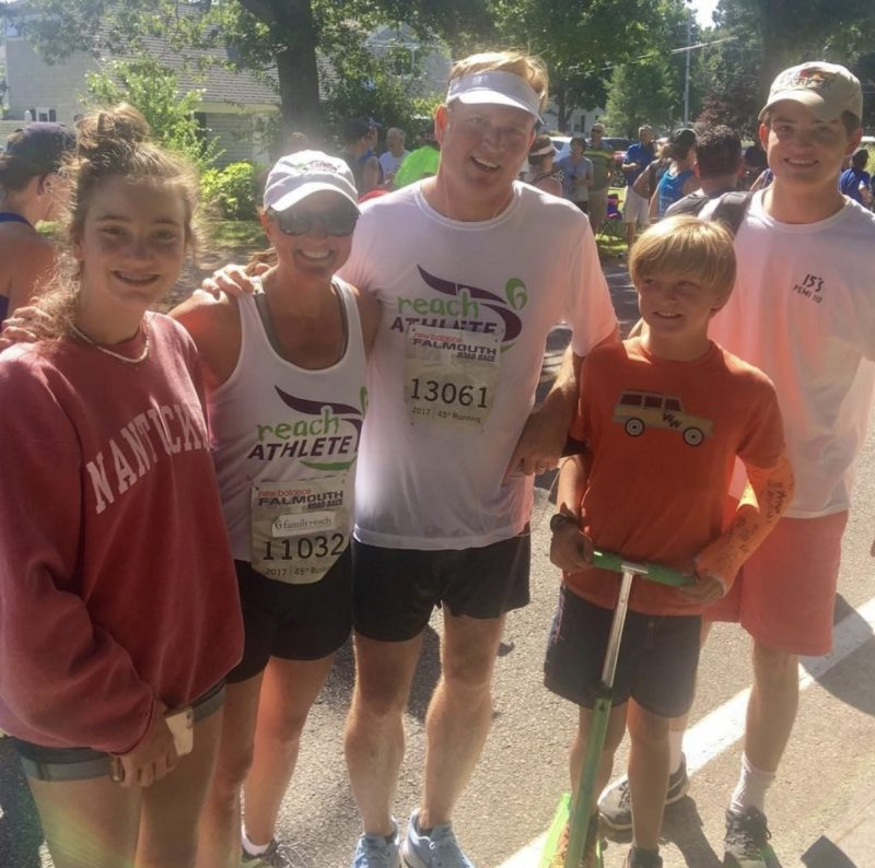 Nicole with her family at a running event