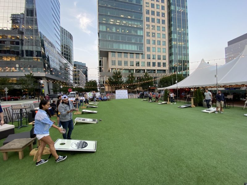 Moment from the 2021 Young Professionals Annual Cornhole Tournament in Boston.